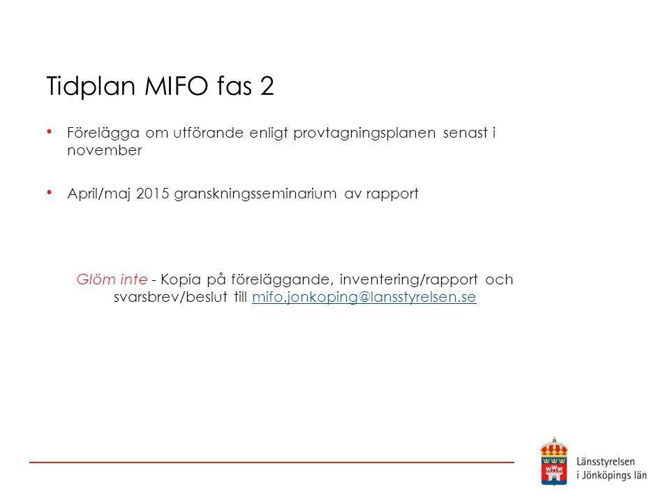 Tidplan MIFO fas 2 Förelägga om utförande enligt provtagningsplanen senast i november April/maj 2015 granskningsseminarium av rapport Glöm inte - Kopi