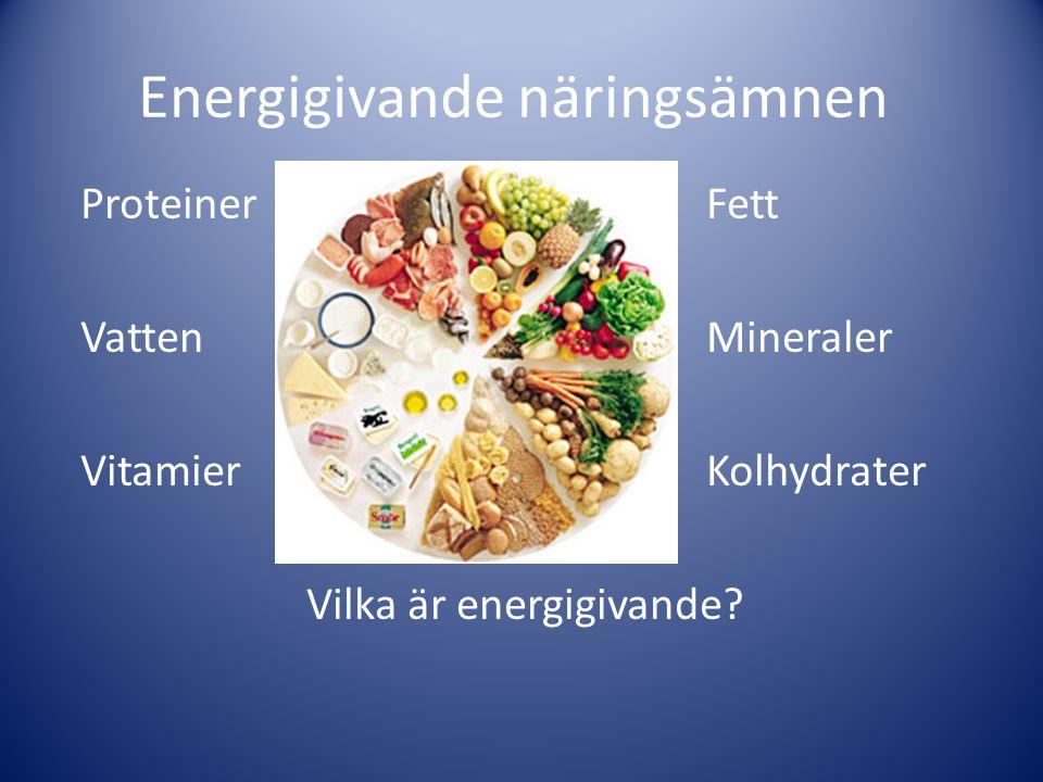 Energigivande näringsämnen ProteinerFett VattenMineraler VitamierKolhydrater Vilka är energigivande?