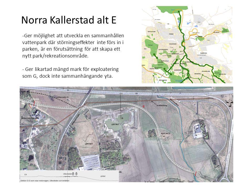 Norra Kallerstad alt E -Ger möjlighet att utveckla en sammanhållen vattenpark där störningseffekter inte förs in i parken, är en förutsättning för att skapa ett nytt park/rekreationsområde.