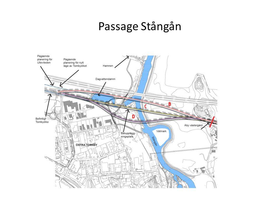 Passage Stångån alt D - sträckningen är anpassad till områdets förutsättningar och ger goda möjligheter för inplacering av bro/väg i landskapet och Stångårummet -påverkar inte riksintresset E4 -undviker påverkan på vattenmiljön med brostöd och dagvattendamm -möjliggör för bebyggelse på båda sidor om vägen - möjlighet att stärka bilden av Linköping vid passage E4 genom landmärke som pekar ut Stångån och riktning mot staden