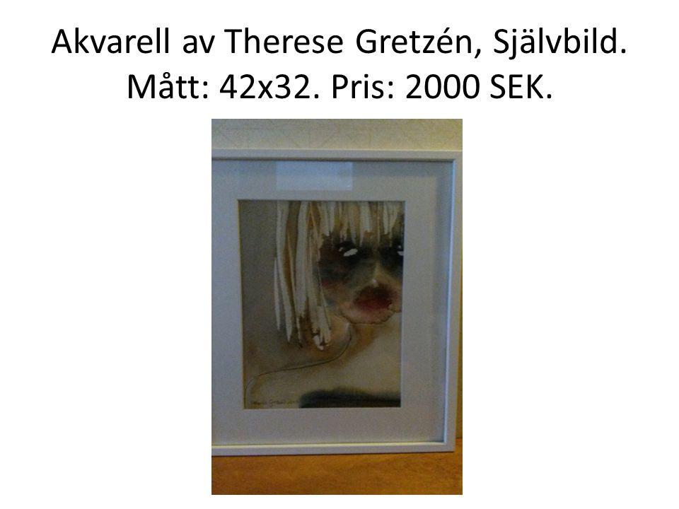 Akvarell av Therese Gretzén, Självbild. Mått: 42x32. Pris: 2000 SEK.
