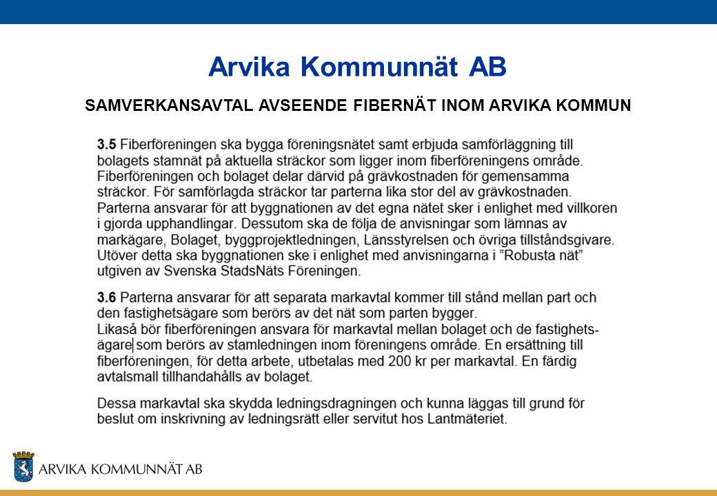 Arvika Kommunnät AB SAMVERKANSAVTAL AVSEENDE FIBERNÄT INOM ARVIKA KOMMUN