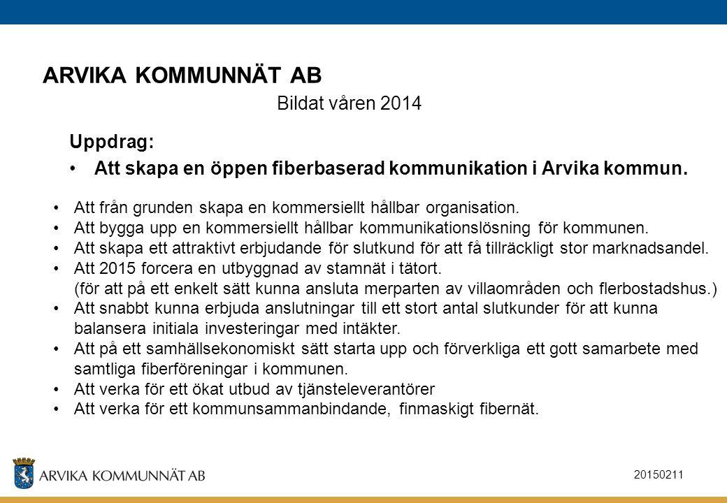20150211 ARVIKA KOMMUNNÄT AB Bildat våren 2014 Uppdrag: Att skapa en öppen fiberbaserad kommunikation i Arvika kommun. Att från grunden skapa en komme