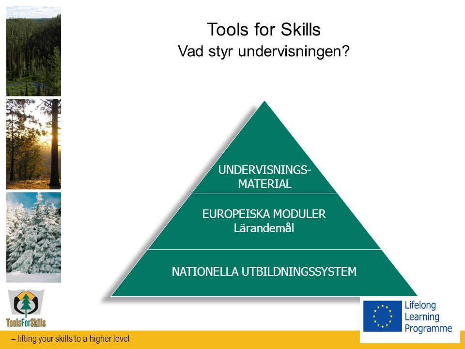 Tools for Skills Verktyg för integrerat lärande av språk och yrkeskunskaper FLERSPRÅKIG ORDLISTA app PRAKTIK Europeisk mobilitet INTERAKTIVT LÄROMEDEL Working in Harvesting Teams – lifting your skills to a higher level
