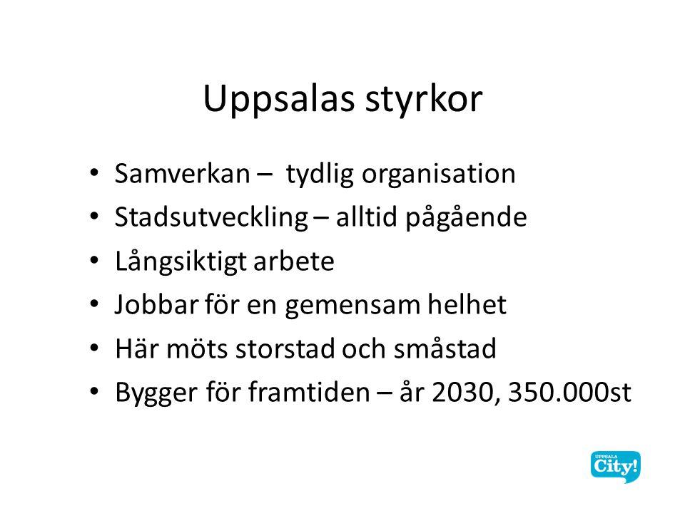 Samverkan – tydlig organisation Stadsutveckling – alltid pågående Långsiktigt arbete Jobbar för en gemensam helhet Här möts storstad och småstad Bygger för framtiden – år 2030, 350.000st Uppsalas styrkor
