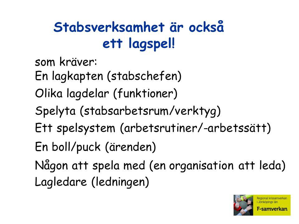 Stabsverksamhet är också ett lagspel! som kräver: En lagkapten (stabschefen) Olika lagdelar (funktioner) Spelyta (stabsarbetsrum/verktyg) Ett spelsyst