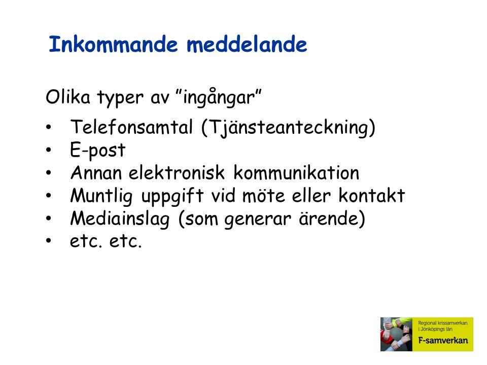 """Inkommande meddelande Olika typer av """"ingångar"""" Telefonsamtal (Tjänsteanteckning) E-post Annan elektronisk kommunikation Muntlig uppgift vid möte elle"""