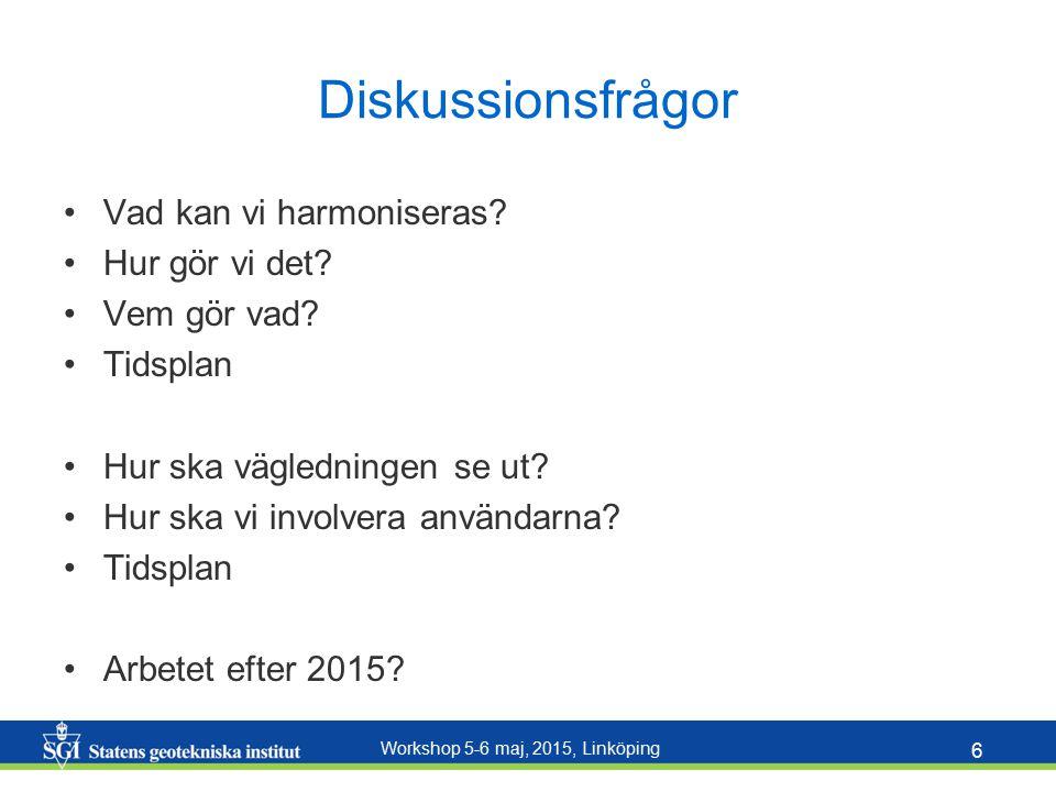 Workshop 5-6 maj, 2015, Linköping 6 Diskussionsfrågor Vad kan vi harmoniseras? Hur gör vi det? Vem gör vad? Tidsplan Hur ska vägledningen se ut? Hur s