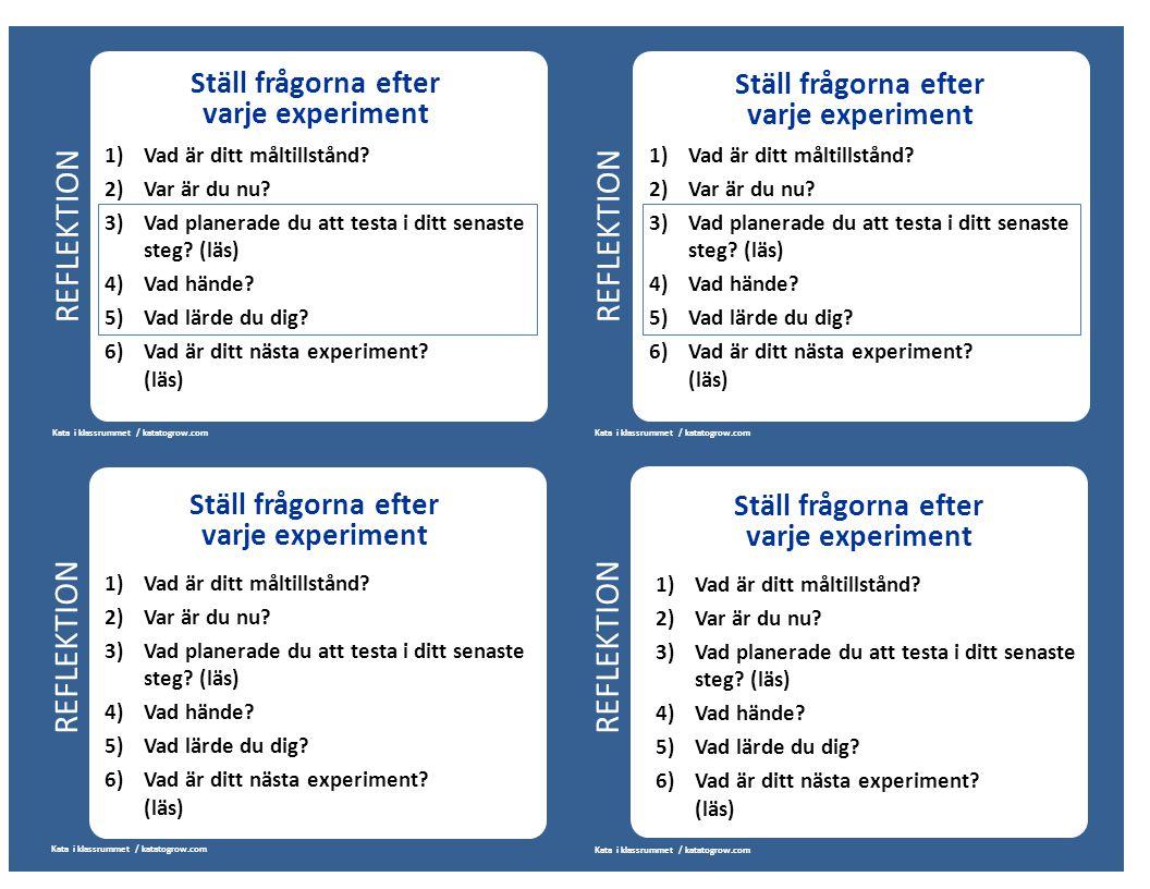 REFLEKTION Kata i klassrummet / katatogrow.com Ställ frågorna efter varje experiment 1) Vad är ditt måltillstånd? 2)Var är du nu? 3)Vad planerade du a