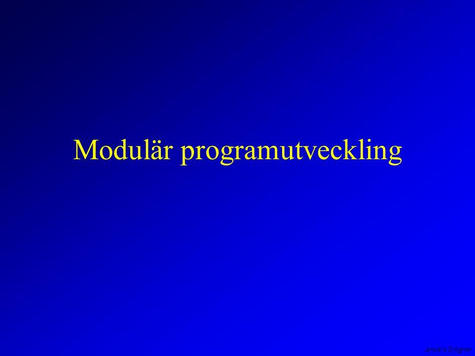 Anders Sjögren Programmets struktur arbetsfördelning och filer static double NastaAr( double x ) { if ( x > 0 ) x = x * ( 1 + ranteFaktor ); /* denna */ else x = x * 1/( 1 + RANTESATS/100 ); /* eller denna */ return x ; }
