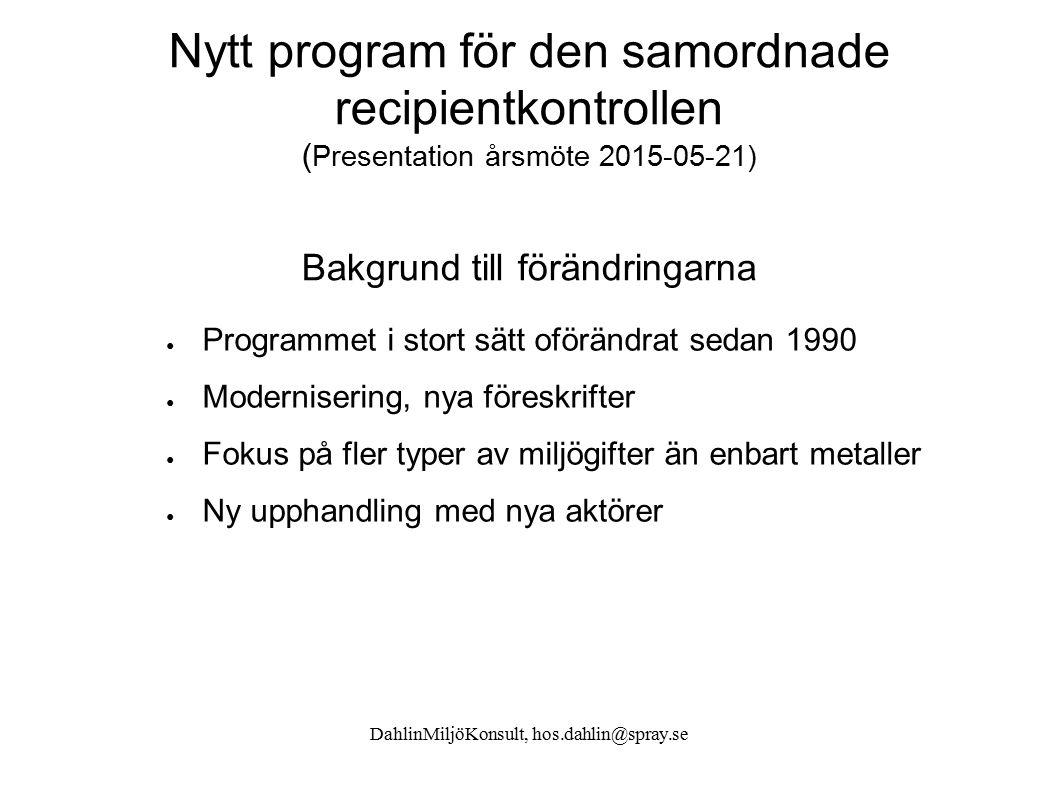 DahlinMiljöKonsult, hos.dahlin@spray.se Nytt program för den samordnade recipientkontrollen ( Presentation årsmöte 2015-05-21) Bakgrund till förändrin