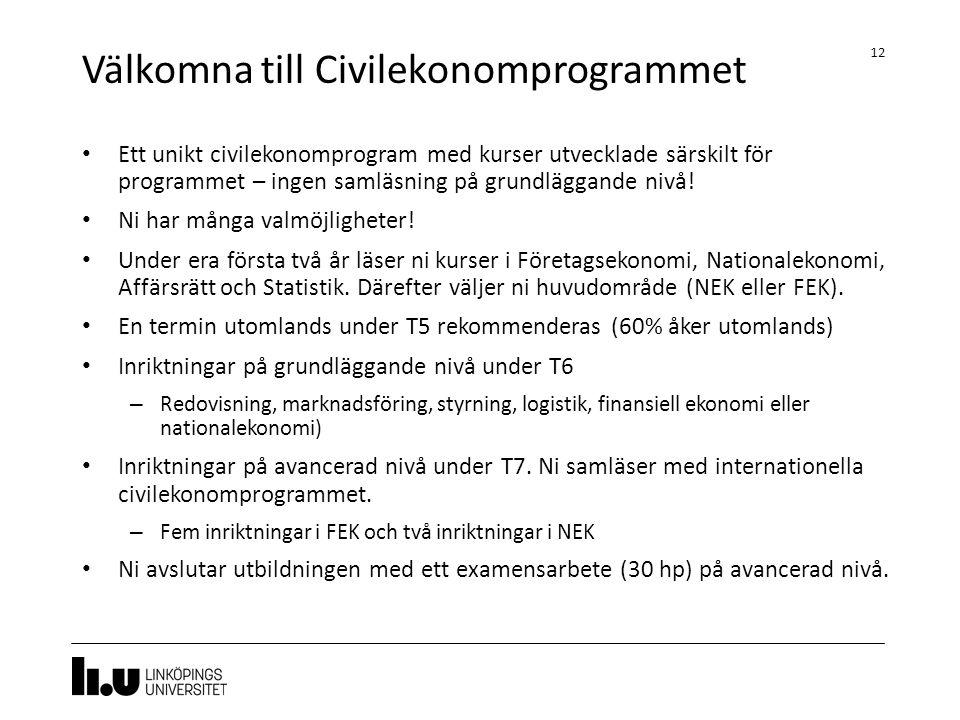 Välkomna till Civilekonomprogrammet 12 Ett unikt civilekonomprogram med kurser utvecklade särskilt för programmet – ingen samläsning på grundläggande