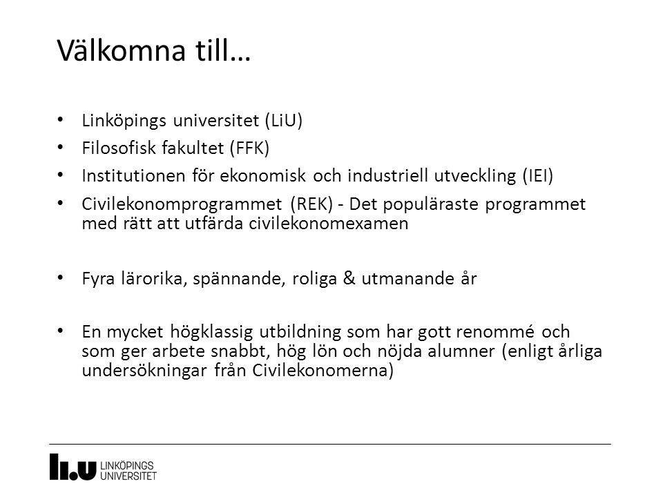 Välkomna till… 3 Linköpings universitet (LiU) Filosofisk fakultet (FFK) Institutionen för ekonomisk och industriell utveckling (IEI) Civilekonomprogra