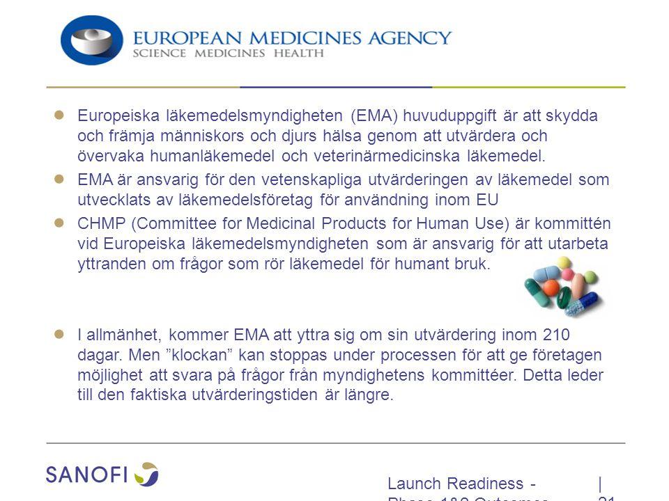 Launch Readiness - Phase 1&2 Outcomes ● Europeiska läkemedelsmyndigheten (EMA) huvuduppgift är att skydda och främja människors och djurs hälsa genom att utvärdera och övervaka humanläkemedel och veterinärmedicinska läkemedel.
