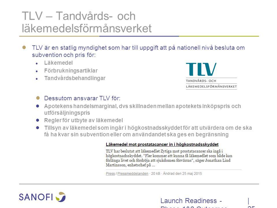 Launch Readiness - Phase 1&2 Outcomes TLV – Tandvårds- och läkemedelsförmånsverket ● TLV är en statlig myndighet som har till uppgift att på nationell