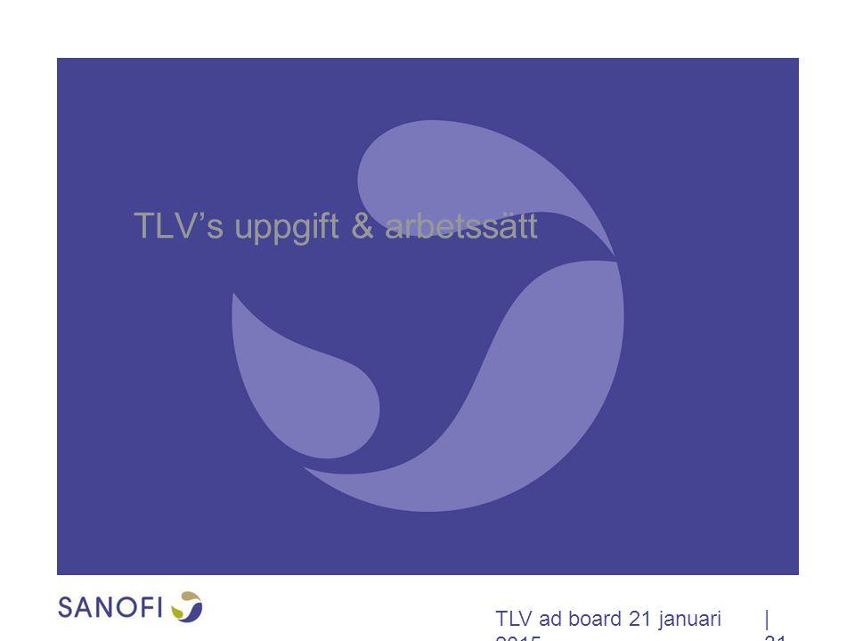 TLV ad board 21 januari 2015 TLV's uppgift & arbetssätt | 31