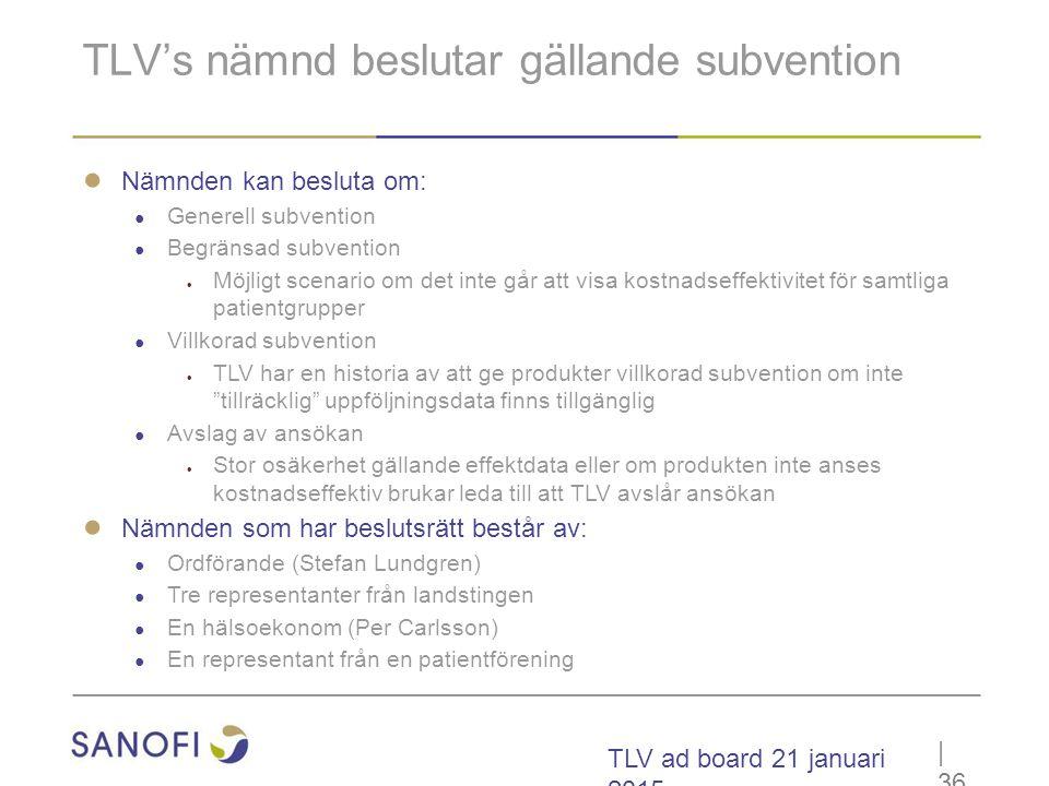 TLV ad board 21 januari 2015 TLV's nämnd beslutar gällande subvention ● Nämnden kan besluta om: ● Generell subvention ● Begränsad subvention  Möjligt