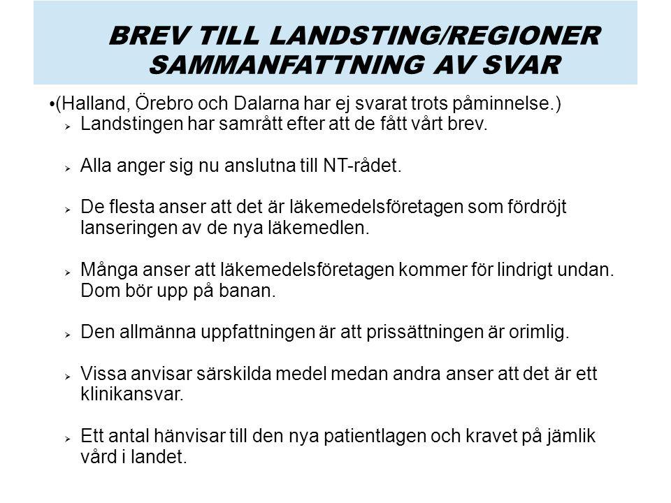 BREV TILL LANDSTING/REGIONER SAMMANFATTNING AV SVAR (Halland, Örebro och Dalarna har ej svarat trots påminnelse.)  Landstingen har samrått efter att de fått vårt brev.