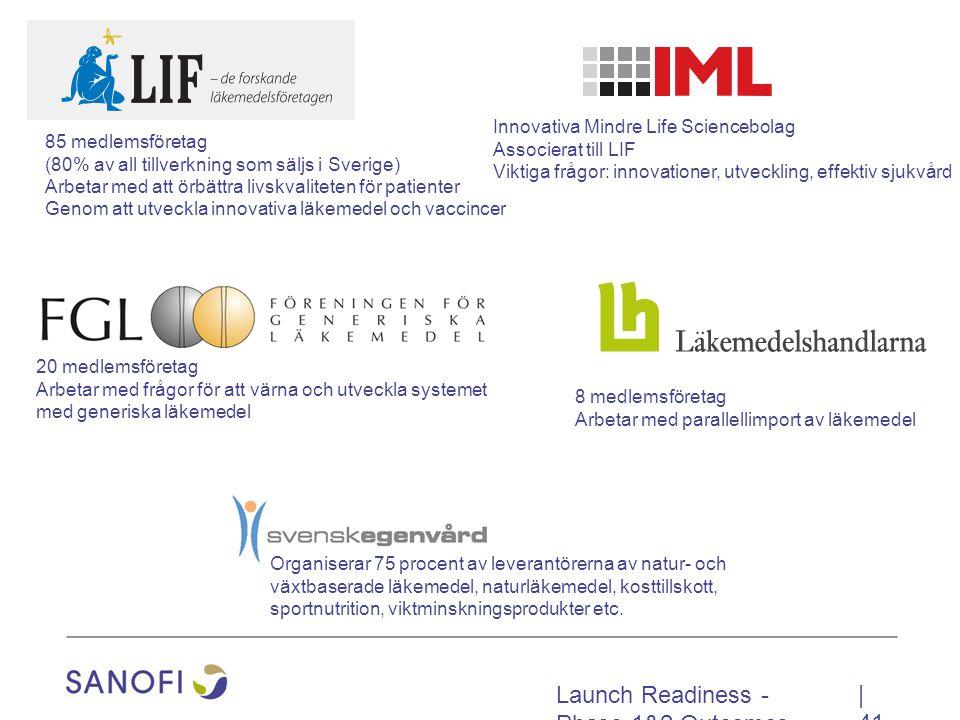 Launch Readiness - Phase 1&2 Outcomes   41 Innovativa Mindre Life Sciencebolag Associerat till LIF Viktiga frågor: innovationer, utveckling, effektiv sjukvård 8 medlemsföretag Arbetar med parallellimport av läkemedel Organiserar 75 procent av leverantörerna av natur- och växtbaserade läkemedel, naturläkemedel, kosttillskott, sportnutrition, viktminskningsprodukter etc.