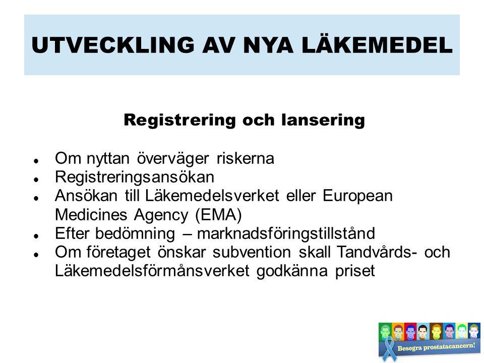 UTVECKLING AV NYA LÄKEMEDEL Registrering och lansering Om nyttan överväger riskerna Registreringsansökan Ansökan till Läkemedelsverket eller European