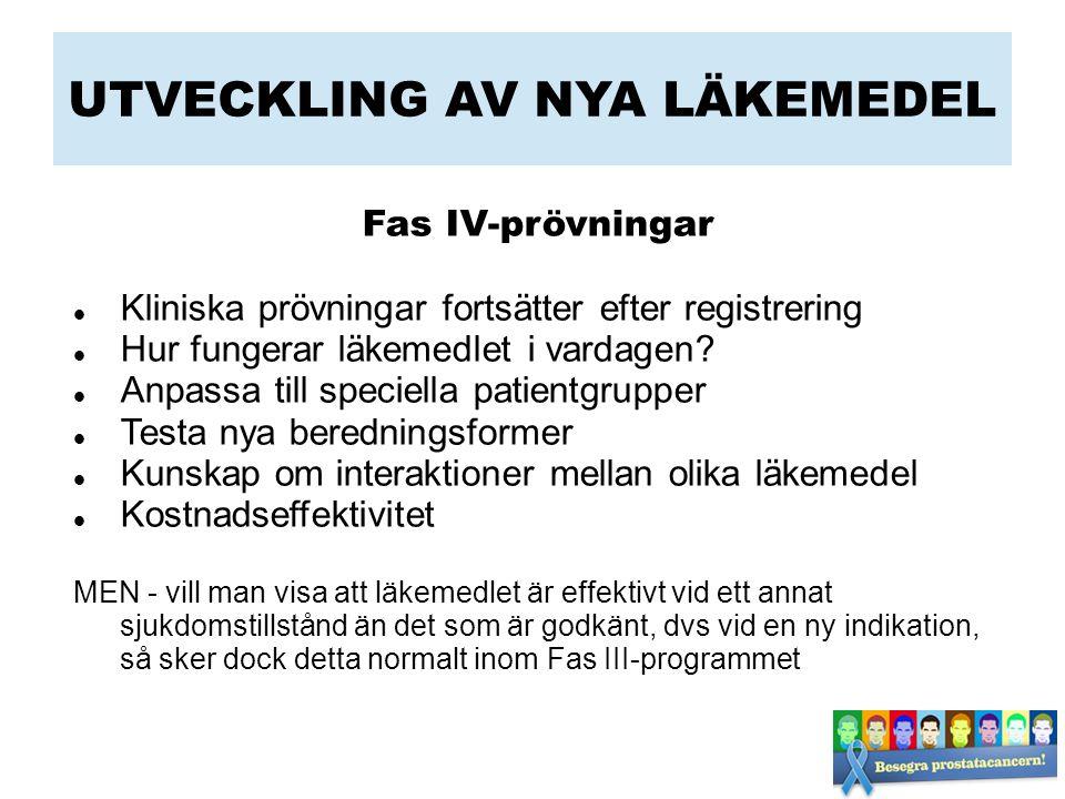UTVECKLING AV NYA LÄKEMEDEL Fas IV-prövningar Kliniska prövningar fortsätter efter registrering Hur fungerar läkemedlet i vardagen.