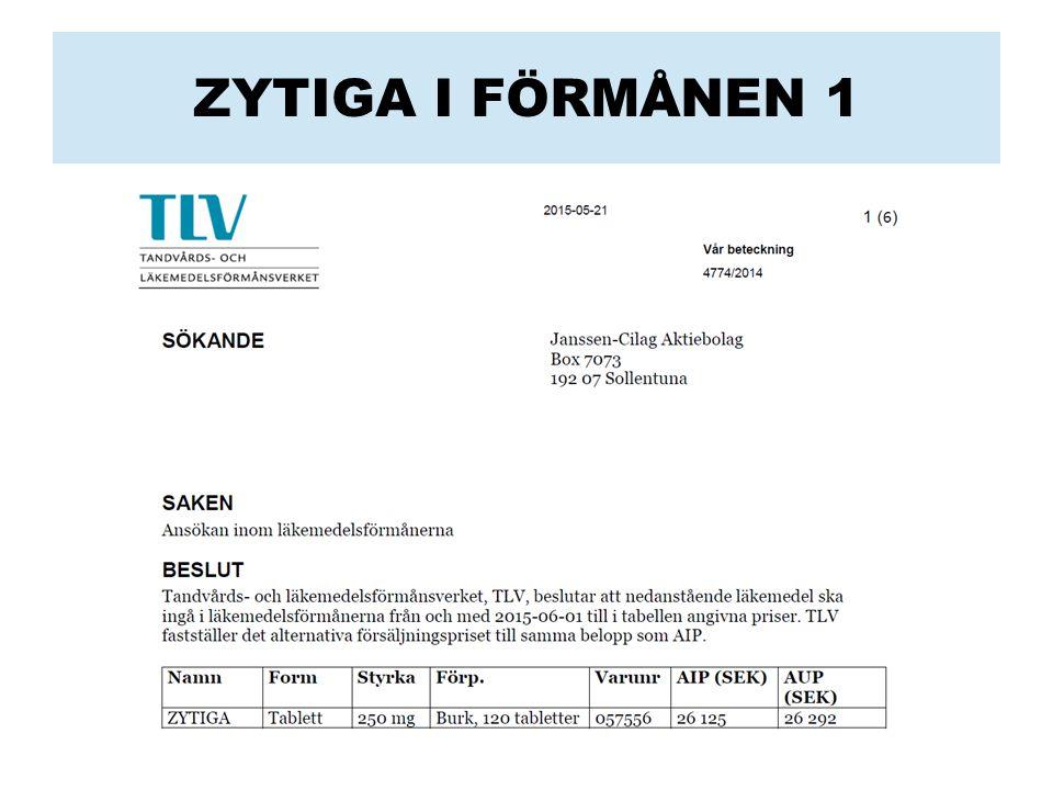 ZYTIGA I FÖRMÅNEN 1