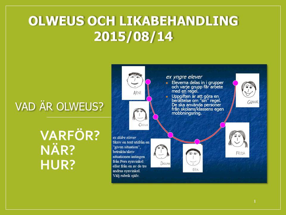 VARFÖR? NÄR? HUR? 1 OLWEUS OCH LIKABEHANDLING 2015/08/14 VAD ÄR OLWEUS?