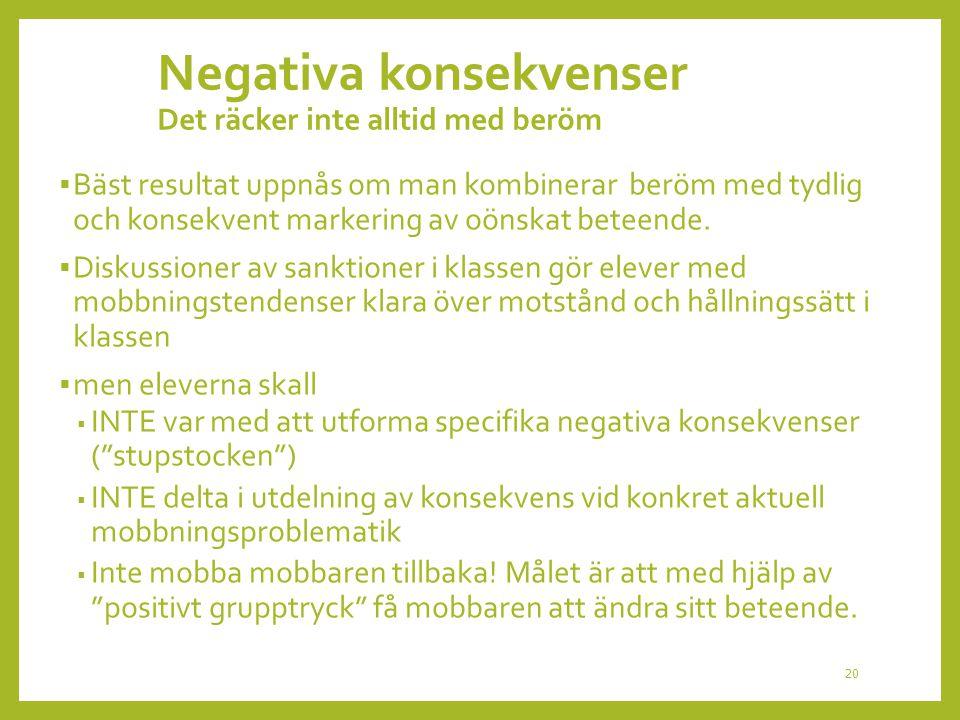 Negativa konsekvenser Det räcker inte alltid med beröm  Bäst resultat uppnås om man kombinerar beröm med tydlig och konsekvent markering av oönskat b