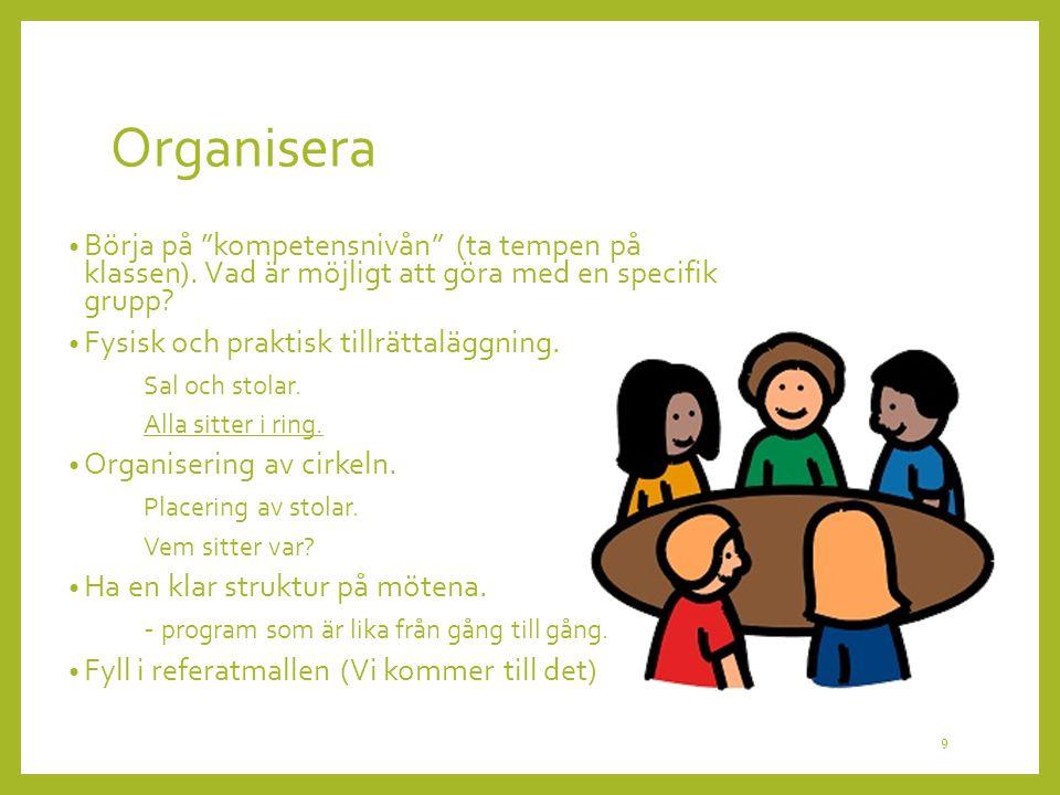 """Organisera Börja på """"kompetensnivån"""" (ta tempen på klassen). Vad är möjligt att göra med en specifik grupp? Fysisk och praktisk tillrättaläggning. Sal"""