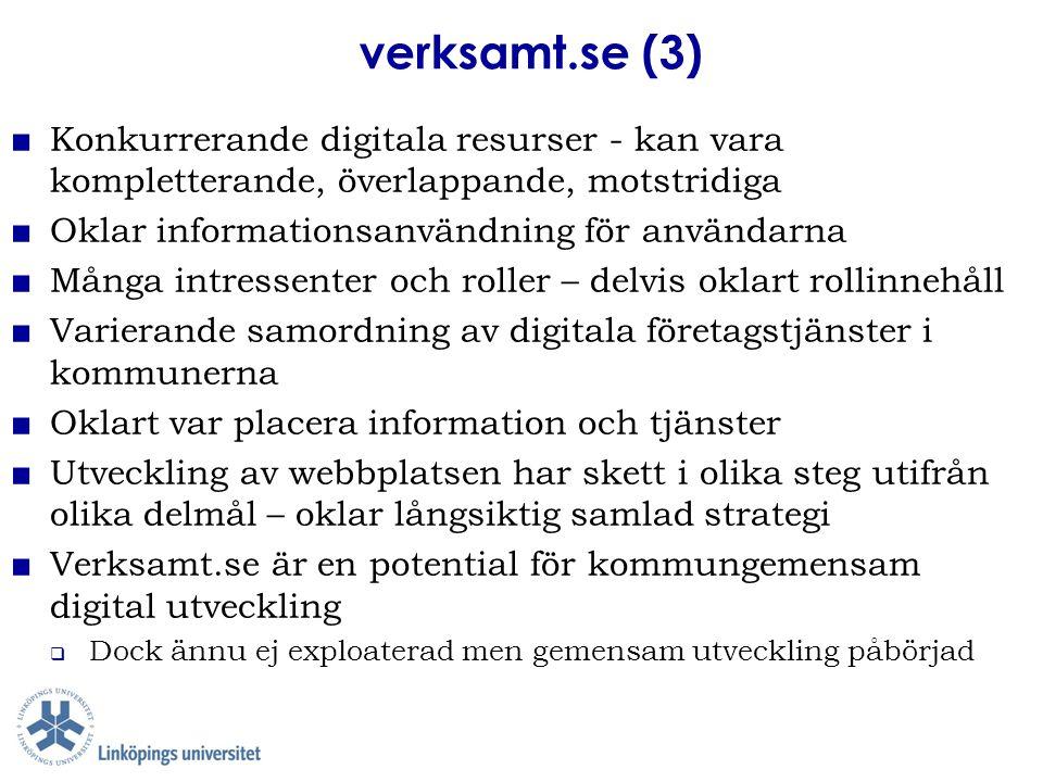 verksamt.se (3) ■ Konkurrerande digitala resurser - kan vara kompletterande, överlappande, motstridiga ■ Oklar informationsanvändning för användarna ■