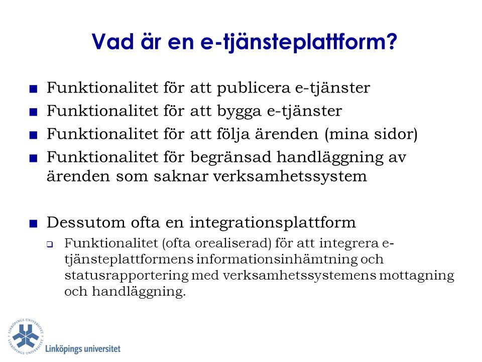 Vad är en e-tjänsteplattform? ■ Funktionalitet för att publicera e-tjänster ■ Funktionalitet för att bygga e-tjänster ■ Funktionalitet för att följa ä