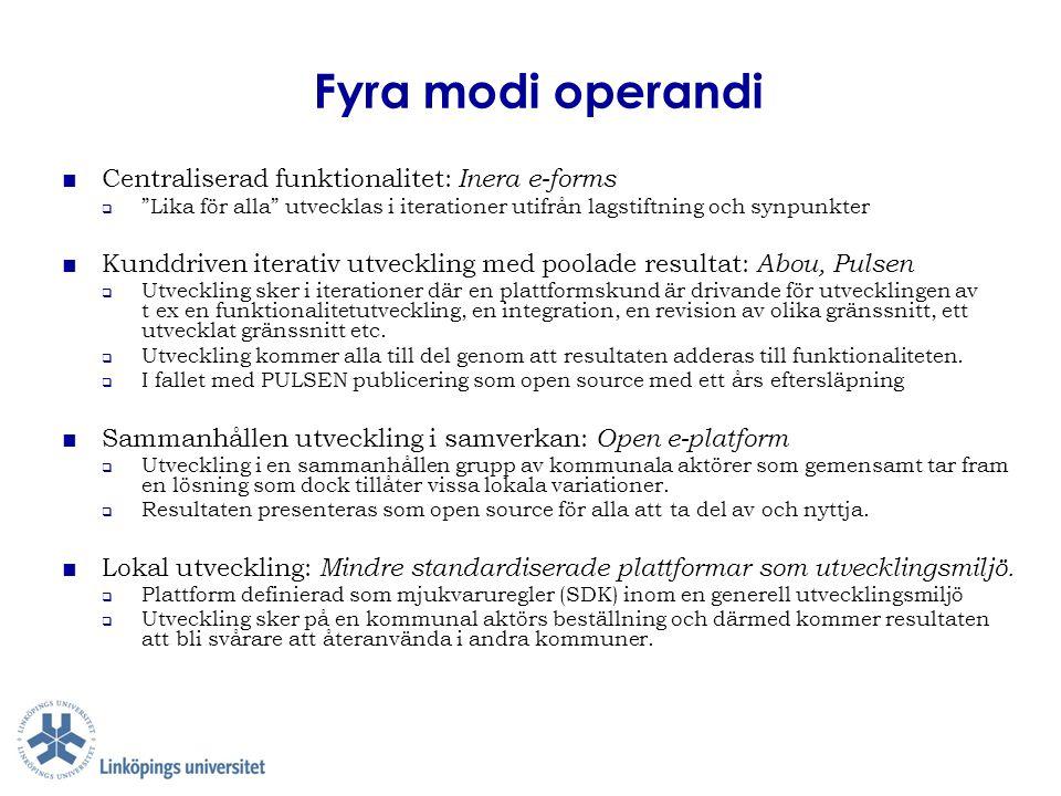 """Fyra modi operandi ■ Centraliserad funktionalitet: Inera e-forms  """"Lika för alla"""" utvecklas i iterationer utifrån lagstiftning och synpunkter ■ Kundd"""