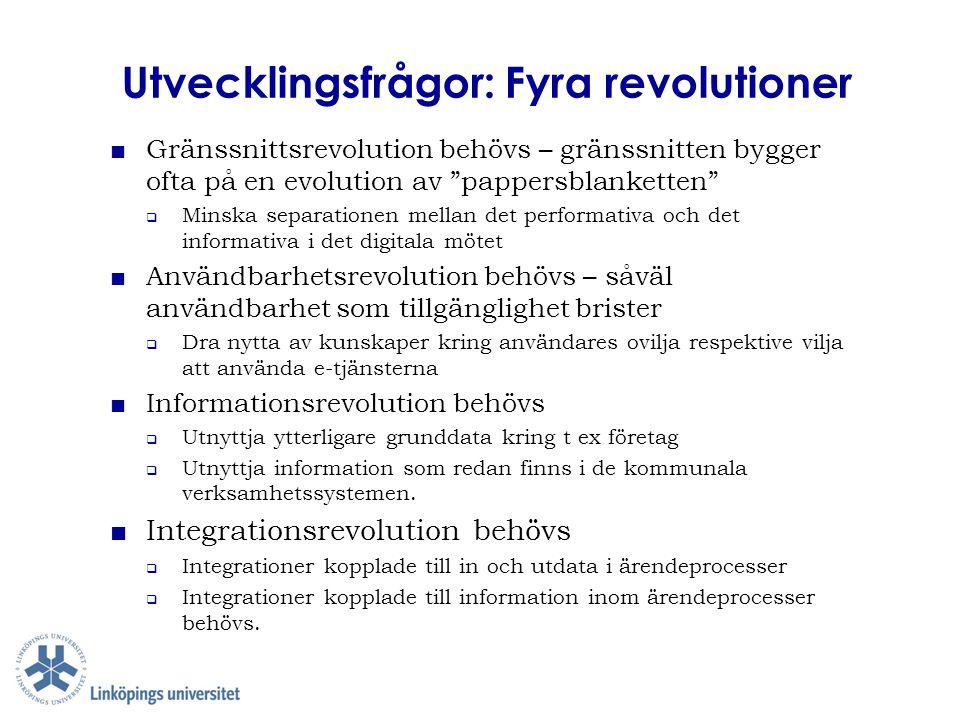 """Utvecklingsfrågor: Fyra revolutioner ■Gränssnittsrevolution behövs – gränssnitten bygger ofta på en evolution av """"pappersblanketten""""  Minska separati"""