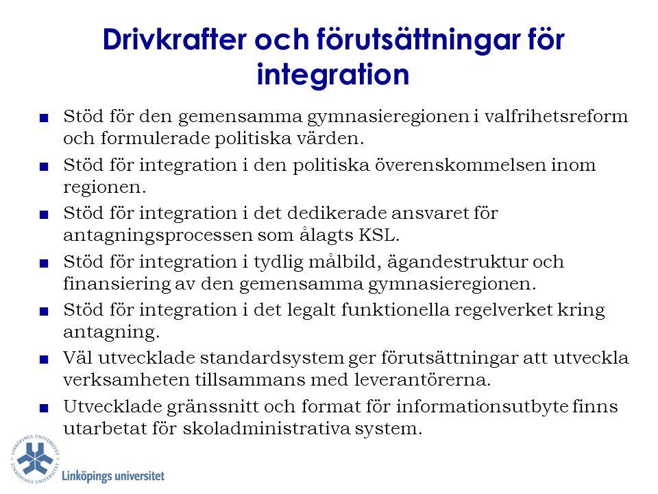 Drivkrafter och förutsättningar för integration ■ Stöd för den gemensamma gymnasieregionen i valfrihetsreform och formulerade politiska värden. ■ Stöd