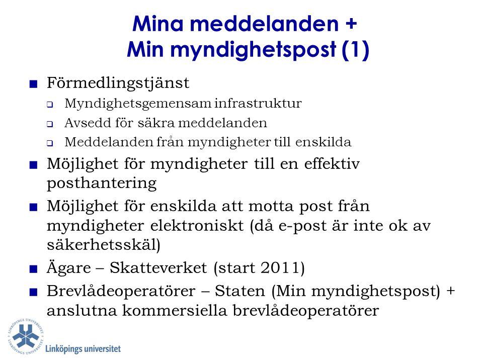 Mina meddelanden + Min myndighetspost (1) ■ Förmedlingstjänst  Myndighetsgemensam infrastruktur  Avsedd för säkra meddelanden  Meddelanden från myn
