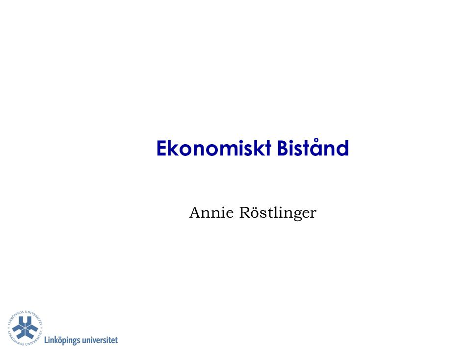 Ekonomiskt Bistånd Annie Röstlinger