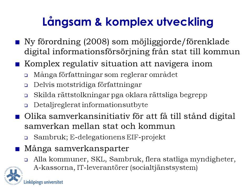 Långsam & komplex utveckling ■ Ny förordning (2008) som möjliggjorde/förenklade digital informationsförsörjning från stat till kommun ■ Komplex regula