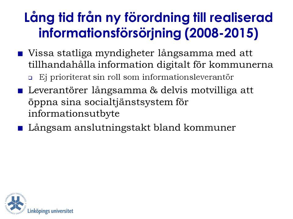 Lång tid från ny förordning till realiserad informationsförsörjning (2008-2015) ■ Vissa statliga myndigheter långsamma med att tillhandahålla informat
