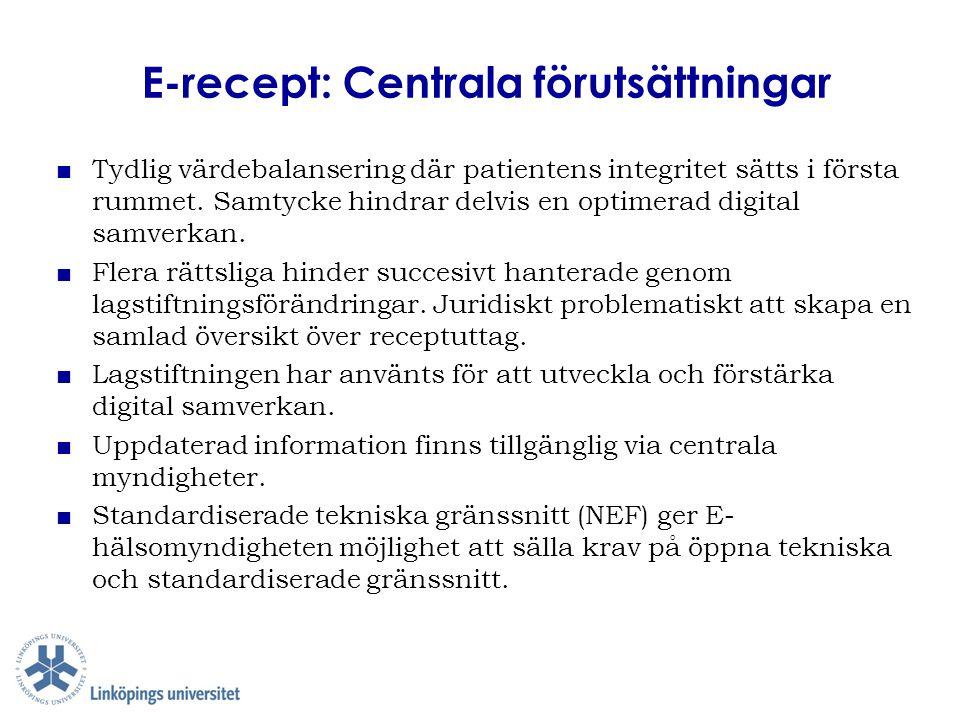 E-recept: Centrala förutsättningar ■ Tydlig värdebalansering där patientens integritet sätts i första rummet. Samtycke hindrar delvis en optimerad dig