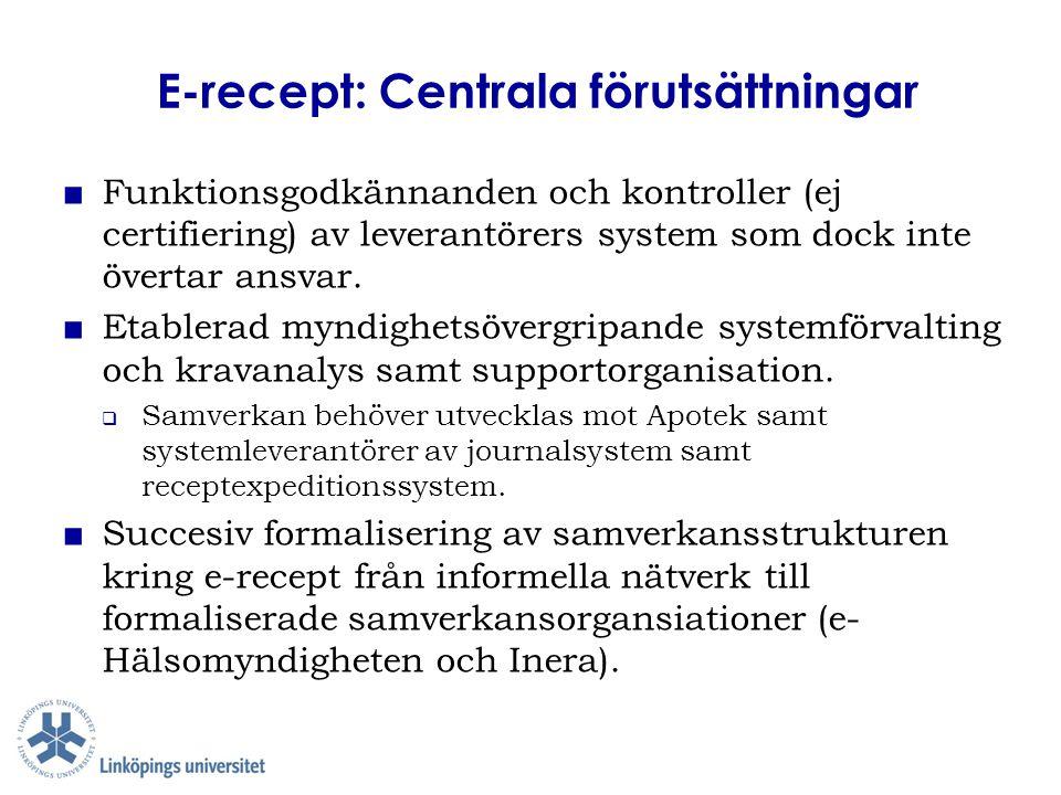 E-recept: Centrala förutsättningar ■ Funktionsgodkännanden och kontroller (ej certifiering) av leverantörers system som dock inte övertar ansvar. ■ Et
