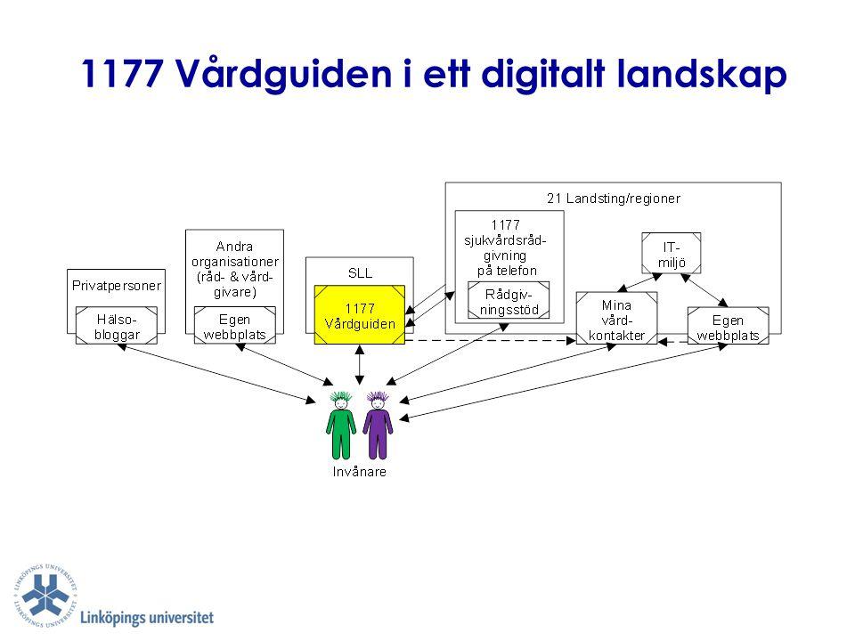 1177 Vårdguiden (2) ■ Välorganiserad samverkan mellan flera aktörer för att skapa gemensamma digitala resurser  Fungerande ägarmodell, finansieringsmodell, styrmodell, samverkansmodell – har utvecklats under lång tid ■ Genomtänkt uppdelning i gemensamma vs.