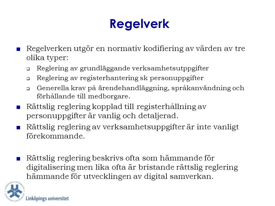 Regelverk ■ Regelverken utgör en normativ kodifiering av värden av tre olika typer:  Reglering av grundläggande verksamhetsutppgifter  Reglering av