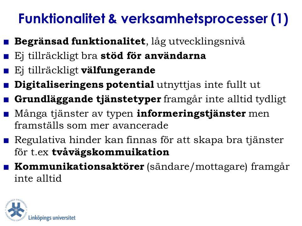 Funktionalitet & verksamhetsprocesser (1) ■ Begränsad funktionalitet, låg utvecklingsnivå ■ Ej tillräckligt bra stöd för användarna ■ Ej tillräckligt