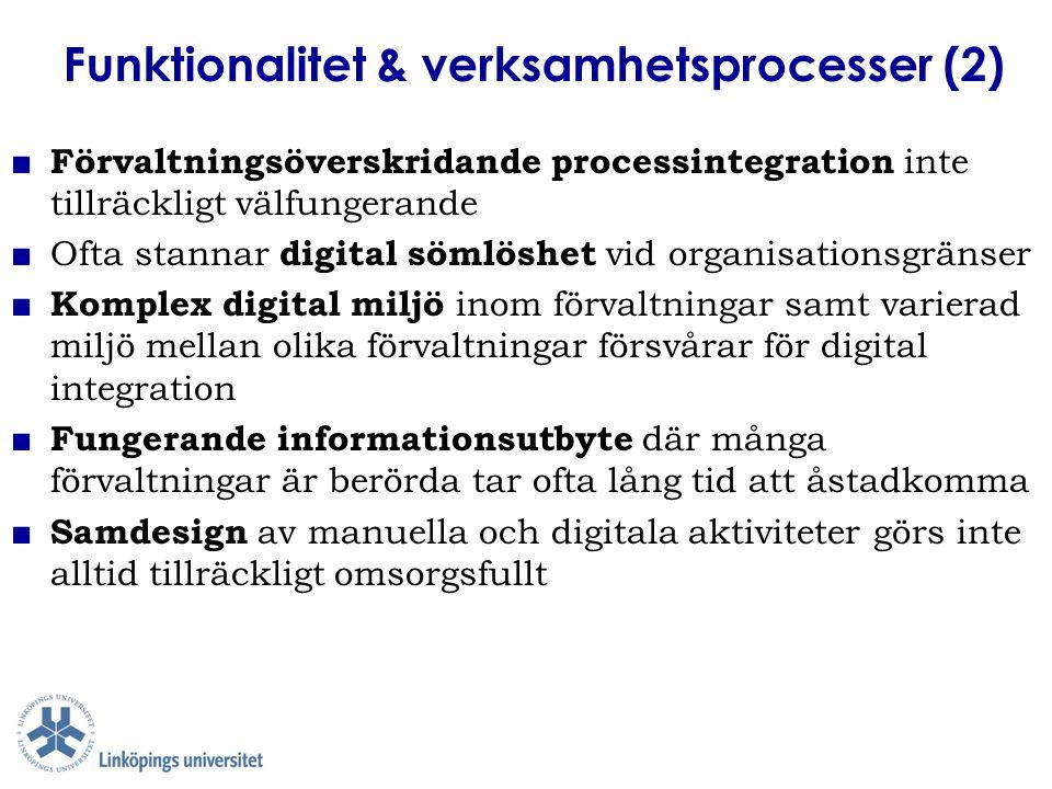 Informationsresurser & verksamhetsspråk ■ Språklig begriplighet och tillgänglighet är fundamentalt för användning av digitala resurser men prioriteras inte alltid i tillräckligt hög grad ■ Utmaning att uppnå en balans mellan specialiserade verksamhetsspråk, myndighetsspråk och vardagsspråklig begriplighet i digitala resurser ■ Formaliserade verksamhetsspråk kräver särskild omsorg ■ Etablerade informationsstrukturer i digitala register kan vara svåra att förändra