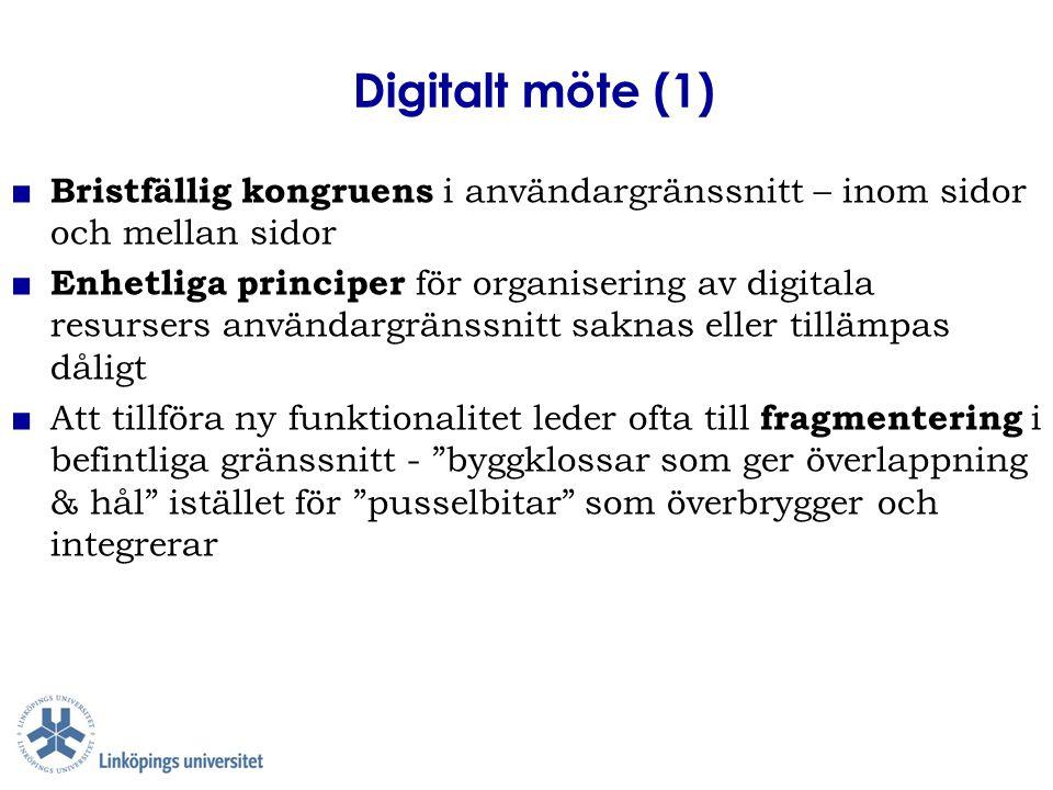 Digitalt möte (2) ■ För innehållsrika digitala resurser är det krävande att skapa en välorganiserad, kongruent och navigerbar innehållsstruktur som gör det enkelt och användbart för användaren ■ Många ämnen och många användarkategorier försvårar organisering för enkelhet i digitala möten ■ Oklar navigering förekommer inom digitala resurser och mellan digitala resurser ■ Oklara ingångar hindrar enkel tillgång till digitala resurser