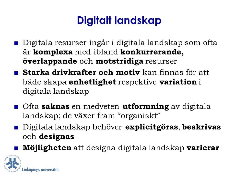Digitalt landskap ■ Digitala resurser ingår i digitala landskap som ofta är komplexa med ibland konkurrerande, överlappande och motstridiga resurser ■