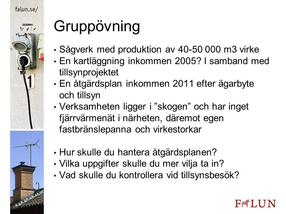 Gruppövning Sågverk med produktion av 40-50 000 m3 virke En kartläggning inkommen 2005? I samband med tillsynprojektet En åtgärdsplan inkommen 2011 ef