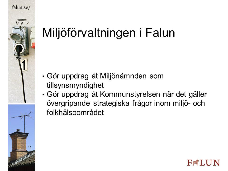 Miljöförvaltningen i Falun Miljönämndsuppdraget Tillsyn enligt miljöbalken Tillsyn enligt livsmedelslagen Tillsyn över försäljning av receptfria läkemedel Kommunens naturvårdsorgan – reservat o d
