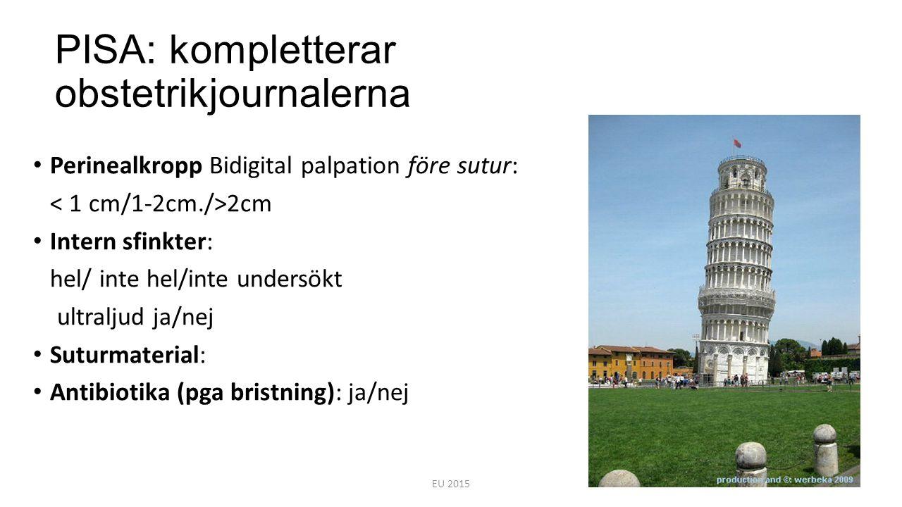 PISA: kompletterar obstetrikjournalerna Perinealkropp Bidigital palpation före sutur: 2cm Intern sfinkter: hel/ inte hel/inte undersökt ultraljud ja/n