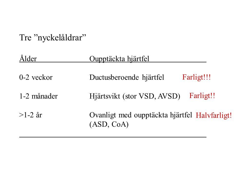 Tre nyckelåldrar ÅlderOupptäckta hjärtfel 0-2 veckorDuctusberoende hjärtfel 1-2 månaderHjärtsvikt (stor VSD, AVSD) >1-2 årOvanligt med oupptäckta hjärtfel (ASD, CoA) Farligt!!.
